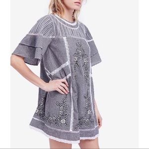 Free People Checkered Embroidered Dress XS